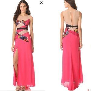 BCBG Pink Nude Floral Patchwork Dress